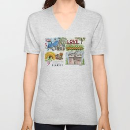 Lynchburg, Virginia - 4 Scenes Around Town Unisex V-Neck