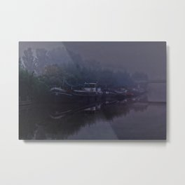 Boats in the morning mist  Metal Print
