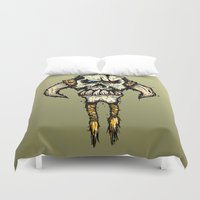 viking Duvet Covers featuring Viking skull  by N.Kachaktano