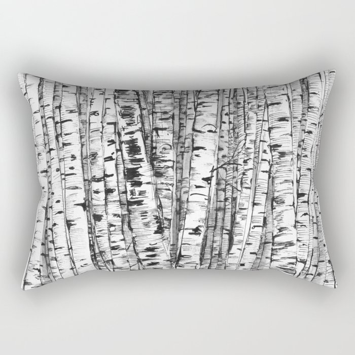 Birches ink drawing Rectangular Pillow