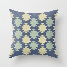 Southwestern pattern navy Throw Pillow