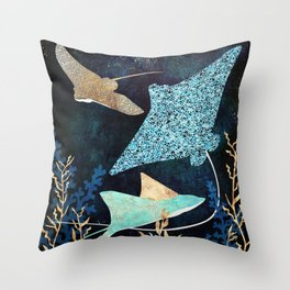 Metallic Stingray II Throw Pillow