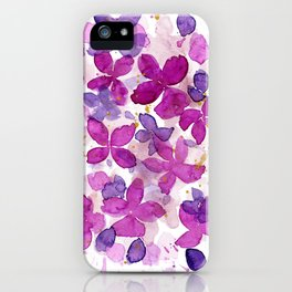 Watercolor Abstract Fuchsia Flowers iPhone Case