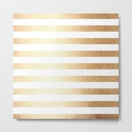 Simply Striped Golden Copper Sun Metal Print