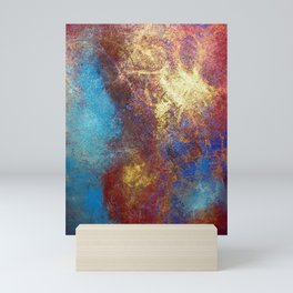 Philip Bowman Red, Blue And Gold Modern Abstract Art Painting Mini Art Print