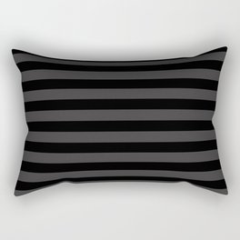 Dark Grey and Black Stripes | Horizontal Medium Stripes | Rectangular Pillow