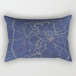 Rome Blue and Gold Street Map Rectangular Pillow