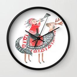 The little horn blower Wall Clock