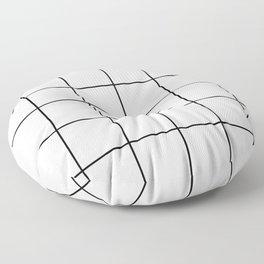black grid on white background Floor Pillow