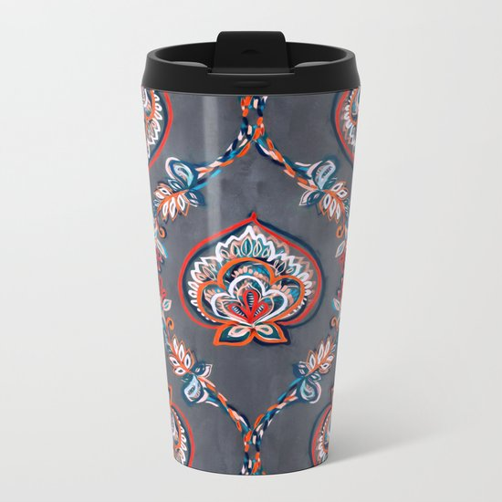 Floral Ogees in Red & Blue on Grey Metal Travel Mug