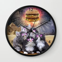 space cats looking for the burger Wall Clock