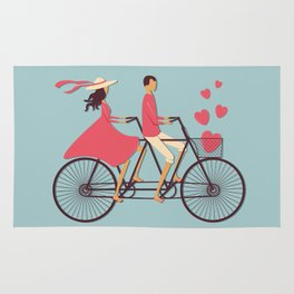 Love Couple riding on the bike Rug