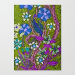 Starry Floral Felted Wool, Moss Green and Violet Canvas Print