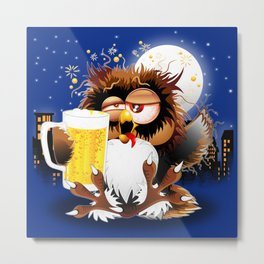 Drunk Owl with Beer Funny Character Metal Print