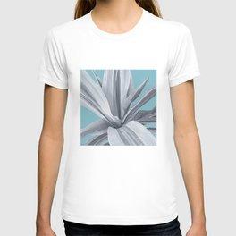 Grey Leaves. Tropical blue. T-shirt