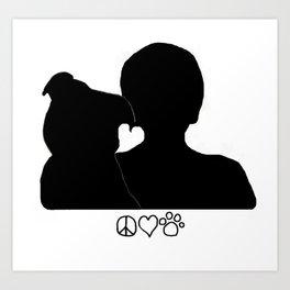 Valentine Pit Bull Dogs Love Art Print