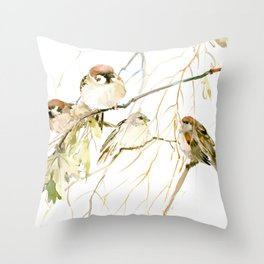 Sparrows on Tree, sparrow bird art decor brown Throw Pillow
