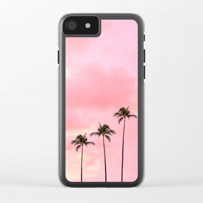 Palm Trees Photography | Hot Pink Sunset Clear iPhone Case