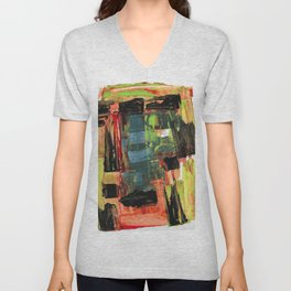 Step Through the Portal Abstract Contemporary Painting Unisex V-Neck