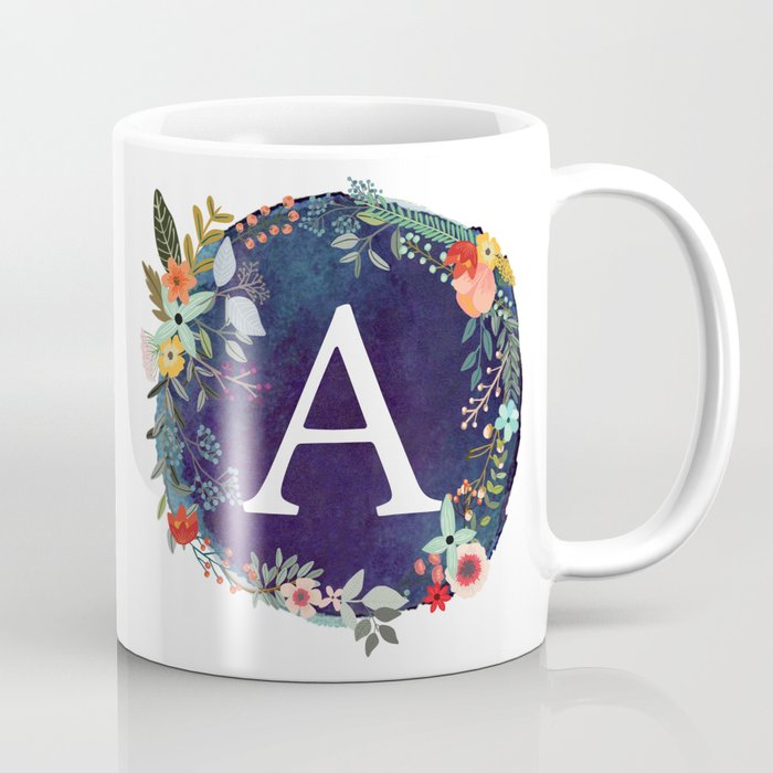 personalized monogram initial letter a floral wreath artwork coffee mug