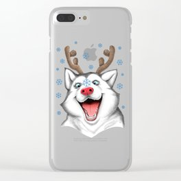 Husky Rudolph Clear iPhone Case
