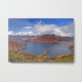 Lake Chuzenji, Japan in autumn from above Metal Print