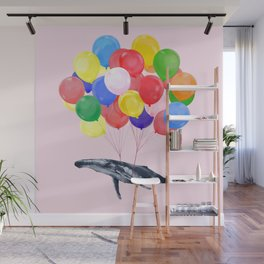 Flying Whale with Colourful balloons in Pink Wall Mural
