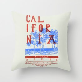 Califonia Bikes Throw Pillow