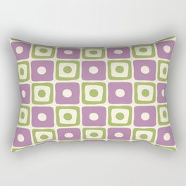 Mid Century Square Dot Pattern Lavender and Chartreuse Rectangular Pillow