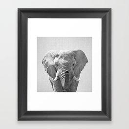 Elephant - Black & White Framed Art Print