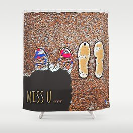 Miss You - Colorful Mosaic Shower Curtain