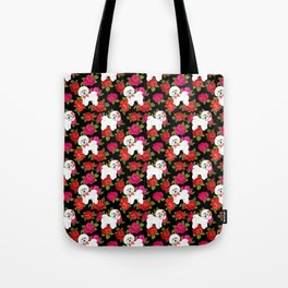 Bichon Frise dogs red rose floral for dog lovers Tote Bag