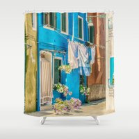 italy Shower Curtains featuring Burano, Italy  by Elliott's Location Photography