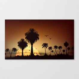 Sunsets and sunrises over the savanna with palm trees Canvas Print
