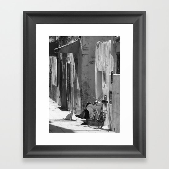 Man and Cat Marrakesh Framed Art Print