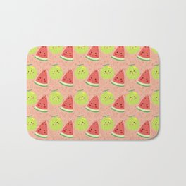 Funny cute lime green red coral watermelon fruit pattern Bath Mat