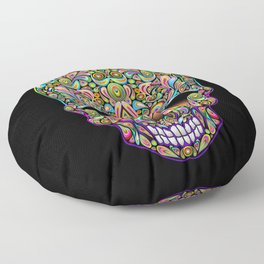 Psychedelic Skull Art Design Floor Pillow