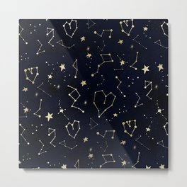 Modern gold constellation hearts stars space on navy blue watercolor Metal Print