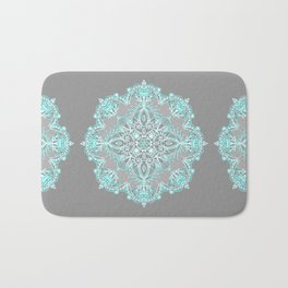 Teal and Aqua Lace Mandala on Grey Bath Mat