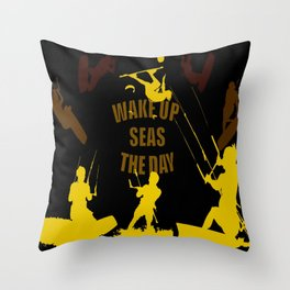 Wake Up Seas The Day Kiteboarder Brown and Yellow Throw Pillow
