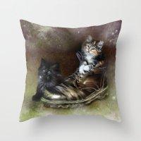 kittens Throw Pillows featuring Kittens by Julie Hoddinott