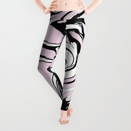 Black, White and Pink Graphic Paint Swirl Pattern Effect Leggings