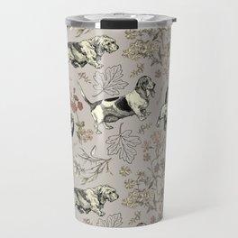 BASSET HOUNDS pattern - gray Travel Mug