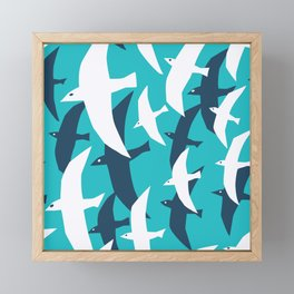 Seagulls, seamless pattern Framed Mini Art Print