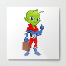 Superhero alien with bag Metal Print