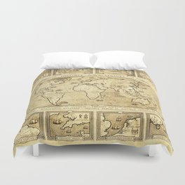 Vintage map of the World Duvet Cover