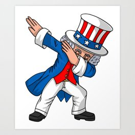 4th of July Party print for Kids Boys Men Dabbing Uncle Sam Art Print