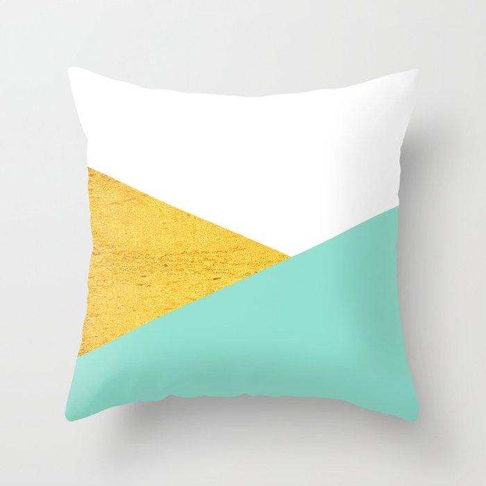 Gold & Aqua Blue Geometry Throw Pillow
