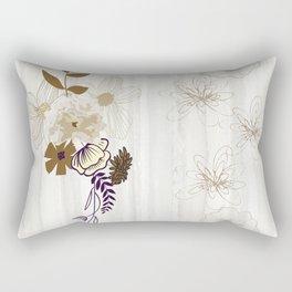 Contemporary Line Art Flowers Rectangular Pillow
