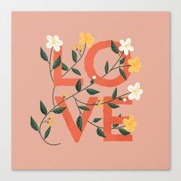 Love - A Pink floral watercolor vintage pillow Canvas Print